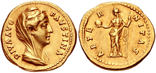 faustina mother roman coin aureus